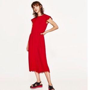 Zara Red Pom-pom Jumpsuit